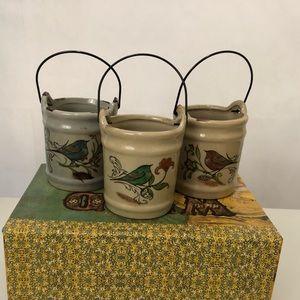 terrarium bird print decorative pots set of 3